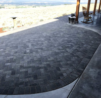 extended porch area with herringbone pattern in pavers
